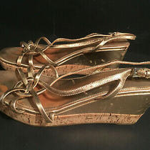 Prada Gold Lame Cork Wedge Sandals 38 1/2 Italy Slingback Leather Photo