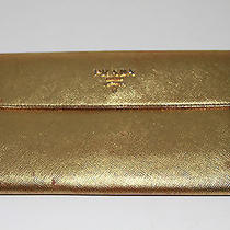 Prada Gold Metallic Wallet - Rrp 395  Photo