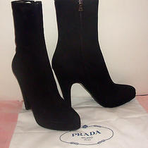 Prada Italy Black Suede Leather Platform High Heel Ankle Boot Size 9 New in Box Photo