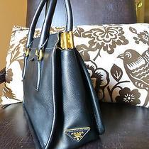 Prada Italy Nero Saffiano All Leather Brass Hinge Bag Authentic 3250 Euc Photo