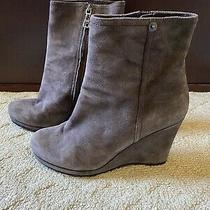 Prada Italy Womens Ankle Boots Booties Size 38.5 Wedge Suede Leather Brown Photo