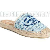 Prada Ivory Blue Canvas 40 Logo Embroidery Espadrille Mule Shoes Nib Authen 450 Photo