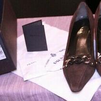 Prada Ladies Size 37 1/2 New With Insole Repair Brown Kitten Heel Photo