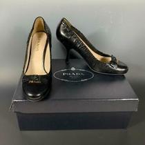 Prada  Leather Antic Soft 3 Black Nero Pumps Heels Shoes  Size 8 1/2 Medium Photo