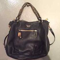 Prada Leather Bag With Chain Detail - Like New Condition Photo