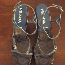 Prada Leather Imprinted Wedge Sandals - Sz 40 Photo