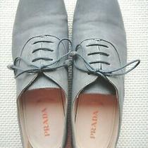 Prada Leather Lace-Up Oxford Blue/gray Size 39.5/9.5us Photo