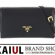 Prada Long Wallet Shoulder Bag Pochette Clutch Leather Black Gold Fittings Logo Photo