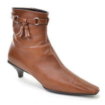 Prada Made in Italy Ladies 37.5 - Cognac Leather Pointy Kitten Heel Ankle Boots Photo