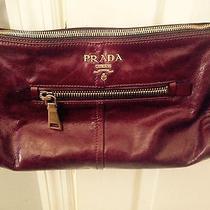 Prada Maroon Burgundy Leather Gold Tone Hardware Purse Bag Photo
