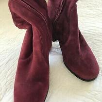 Prada Maroon Stretch Suede Booties Zip in Side Size 38 Photo