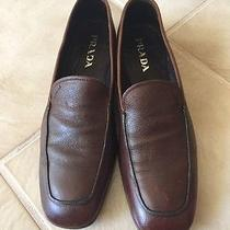 Prada Men's Leather Loafers Size  8.5 Brown Authentic Prada Shoes Photo