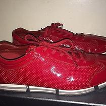 Prada Men's Leather Trainers Sneakers Red Size 9 1/2 Us/8 1/2 Uk Msrp 580 Photo