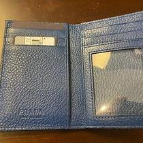 Prada Men's Vitello Grain Blue Leather Bifold Card Id Wallet 2mc035 Photo
