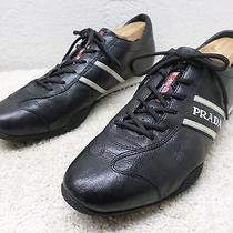 Prada Men Shoes Sz 12 Black Leahter Casual Athletic Sneakers Great Footwear  Photo