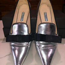 Prada Metallic Silver Pointy Toe Flats Shoes Size 39.5 Made in Italy Photo
