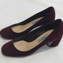 Prada Milano Suede Leather Block Heel Pump Wine Red Velvet Eur 36.5  Us Size 6 Photo