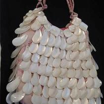 Prada Mother of Pearl Evening Bag on Woven Red & White Silk  Perfect Glorious Photo