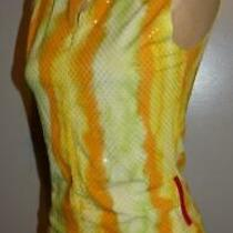 Prada Multi Color Stretchy Skirt & Top Outfit Set Skirt Yellow Sparkly Fitting Photo