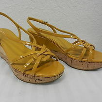 Prada Mustard Patent Leadther Cork Wedge Platform Strappy Sandals Sz 5 Photo