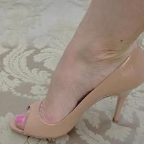 Prada Naked Pink Lacquer Leather Designer Heel Open Toe Shoes  Photo