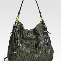 Prada Nappa Gaufre Ruched Leather Hobo Photo