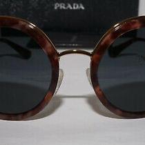 Prada New Sunglasses Round Gold Havana Blue Pr 50ts Ue02k1 54 23 140 Photo