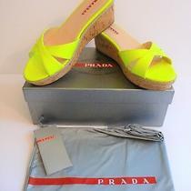 Prada Nib Giallo Neon Yellow Patent Cork Slides Sandals Size 9 39 B Retail 490 Photo
