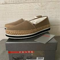 Prada Nib Women's Flats Espadrille Slip on Shoes Canvas Kaki Size 39 Us 8 1/2 Photo