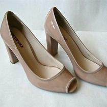 Prada Nude Tan Patent Leather Open Toe Thick High Heel Pumps Shoes  38.5  Italy Photo