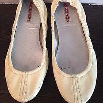 Prada Off White Patent Leather Ballet Flat Photo
