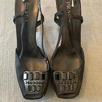 Prada Open Toe Pumps Slingback Satin Beaded Lucite Heel Sz 41 Photo