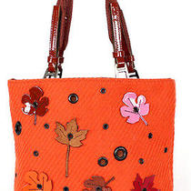 Prada Orange Flannel Leaf Applique Small Tote Bag Photo