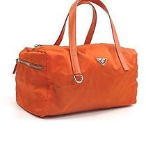 Prada Orange Tessuto Nylon & Saffiano Leather Shoulder Hand Bag Purse Shopper Photo