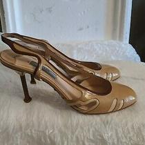 Prada Patent Leather Beige Nude Slingback Sandals 37 1/2 825 Photo