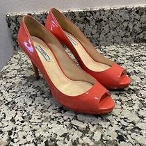 Prada Patent Leather Coral Peep Toe Pump Size 40 Photo