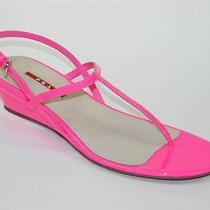 Prada Pink Fluorescent Patent Leather Wedge Thong Sandal Shoe 39.5 Nib Photo