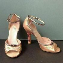 Prada Pink Satin Floral Ankle Strap Open Toe Heel Sandals Size 37 Lizard Detail Photo