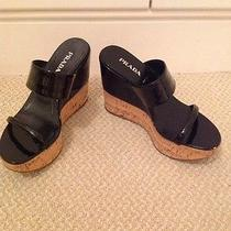 Prada Platform Cork and Black Patent Size 39 Gently Worn Slide Sandal Photo