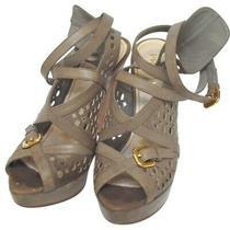 Prada Platform Leather Sandals Wedge Shoes 37.5 Photo