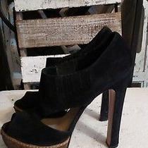Prada Platform Suede Peep Toe Heel Pump  Sandal Black 38 1/2 Photo
