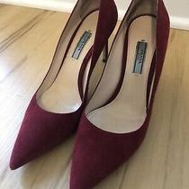 Prada Pointed Toe Pumps Heels Burgundy Red Suede Size 38.5 8.5 8 Photo