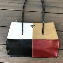 Prada Purse Leather Black White Beige Red Photo