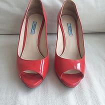 Prada Red Patent Leather Women Pump Heel Shoes 38.5 8 Photo