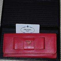Prada Ribbon Motif Two-Fold Wallet Saffiano Fiocco Safiano Peonia 1m1132 Photo