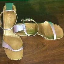 Prada Rose Gold Pink Satin Heels Strap Women's Sandals Shoes Eu Size 39 1/2 Photo