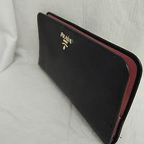 Prada Saffiano Black Leather Wallet Snap Closure Pink Interior Rare  Photo
