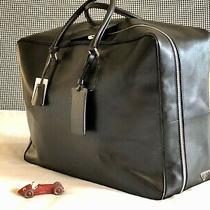 Prada Saffiano Large Duffle Bag Soft Suitcase Black Weekender Euc Photo