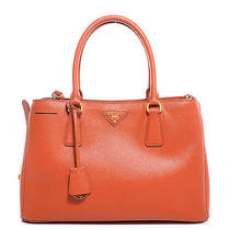 Prada Saffiano Lux Medium Tote Bag Purse Handbag Orange Papaya Photo