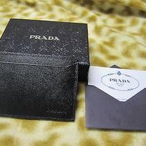 Prada Saffiano Signature Black Leather Mens Card Case Wallet 180 New Photo